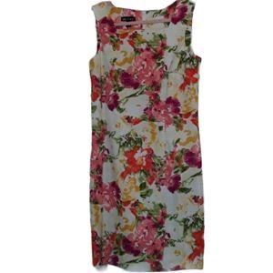 Sleeveless Square Neck Stretch Floral Fitted Dress